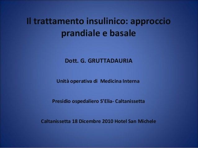 Il trattamento insulinico: approccioprandiale e basaleDott. G. GRUTTADAURIAUnità operativa di Medicina InternaPresidio osp...