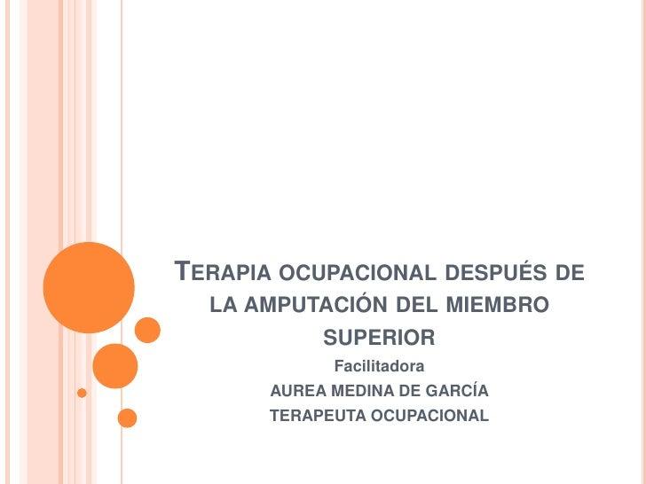 Terapia ocupacional después de la amputación del miembro superior <br />Facilitadora<br />AUREA MEDINA DE GARCÍA<br />TERA...