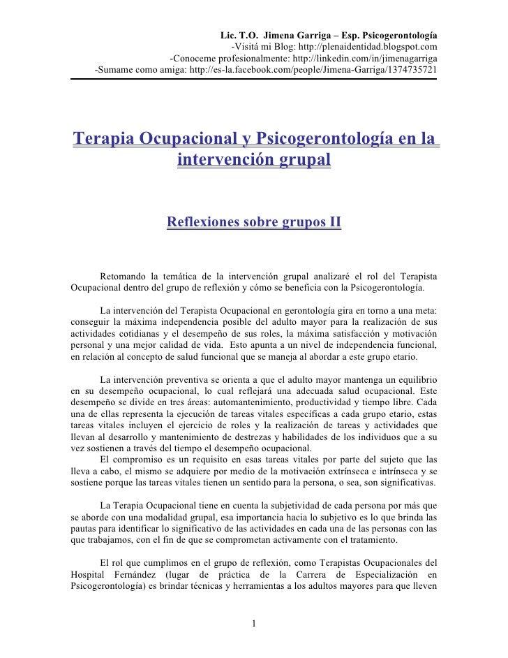 Terapia Ocupacional y Psicogerontología en la intervención grupal