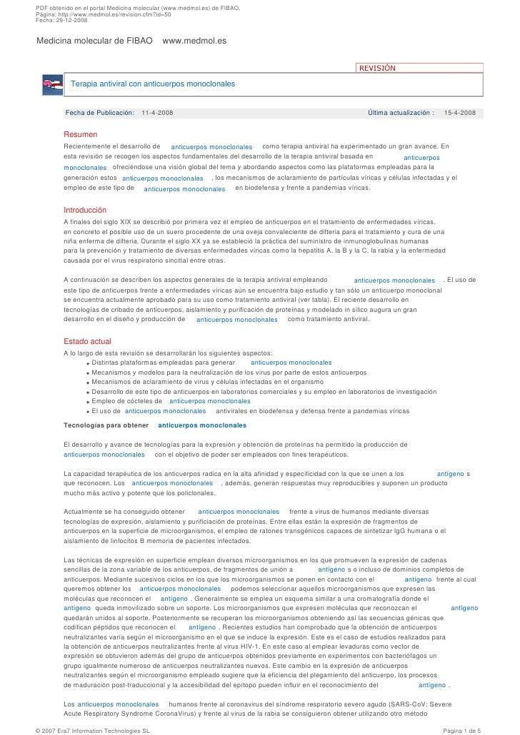 PDF obtenido en el portal Medicina molecular (www.medmol.es) de FIBAO. Página: http://www.medmol.es/revision.cfm?id=50 Fec...