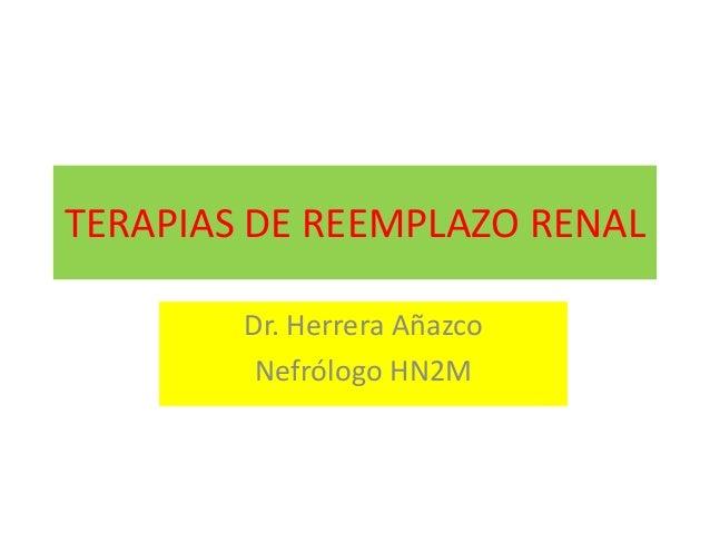 TERAPIAS DE REEMPLAZO RENAL Dr. Herrera Añazco Nefrólogo HN2M