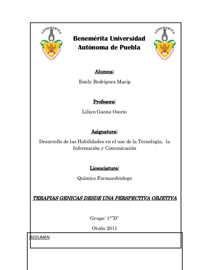 Benemérita Universidad                   Autónoma de Puebla                            Alumna:                     Emily R...
