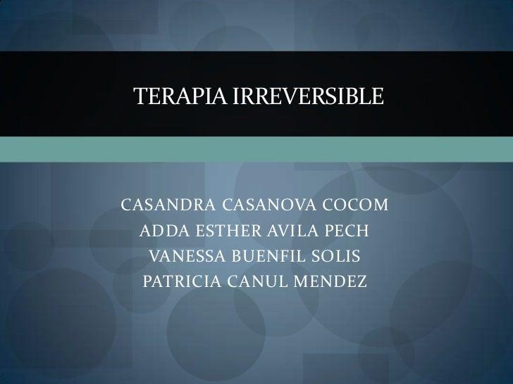 TERAPIA IRREVERSIBLECASANDRA CASANOVA COCOM  ADDA ESTHER AVILA PECH   VANESSA BUENFIL SOLIS  PATRICIA CANUL MENDEZ