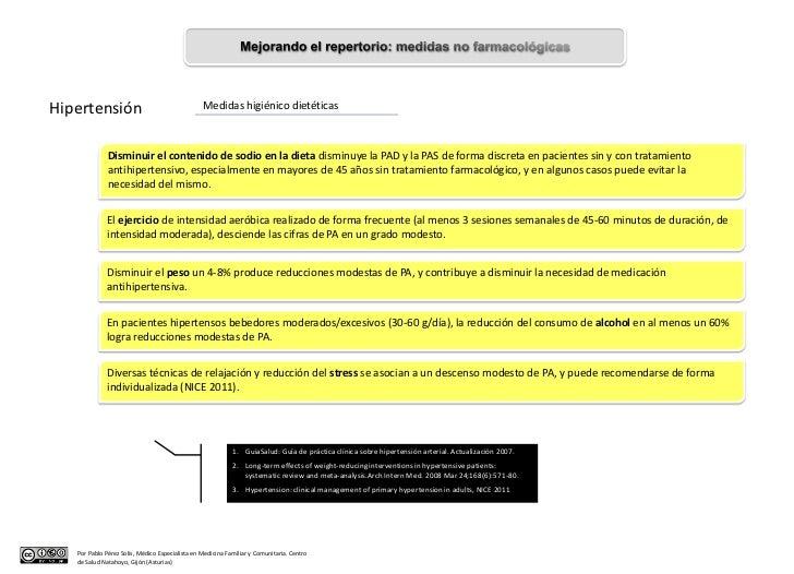 Hipertensión                                     Medidas higiénico dietéticas              Disminuir el contenido de sodio...