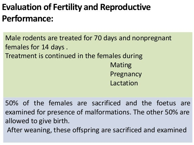 Evaluation of Fertility and Reproductive Performance: Male rodents are treated for 70 days and nonpregnant females for 14 ...