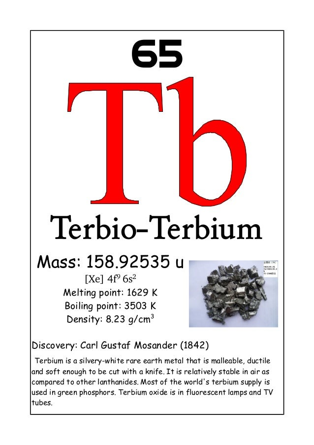65Terbio-TerbiumMass: 158.92535 u[Xe] 4f9 6s2Melting point: 1629 KBoiling point: 3503 KDensity: 8.23 g/cm3Discovery: Carl ...
