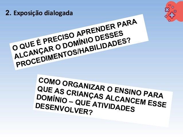 2. Exposição dialogada O QUE É PRECISO APRENDER PARA ALCANÇAR O DOMÍNIO DESSES PROCEDIMENTOS/HABILIDADES? COMO ORGANIZAR O...