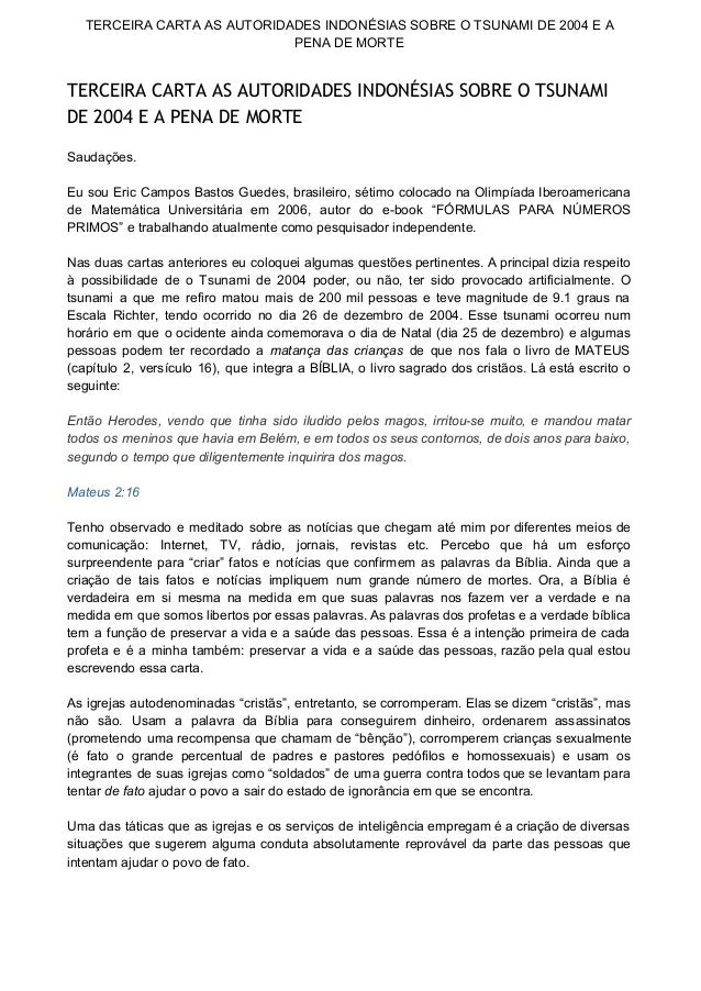 TERCEIRA CARTA AS AUTORIDADES INDONÉSIAS SOBRE O TSUNAMI DE 2004 E A  PENA DE MORTE  TERCEIRA CARTA AS AUTORIDADES INDONÉS...