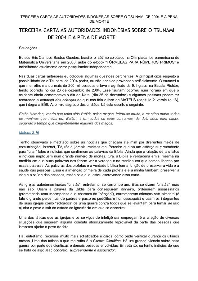 TERCEIRA CARTA AS AUTORIDADES INDONÉSIAS SOBRE O TSUNAMI DE 2004 E A PENA DE MORTE TERCEIRA CARTA AS AUTORIDADES INDONÉSIA...