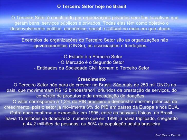 O Terceiro Setor hoje no Brasil   O Terceiro Setor é constituído por organizações privadas sem fins lucrativos que ger...