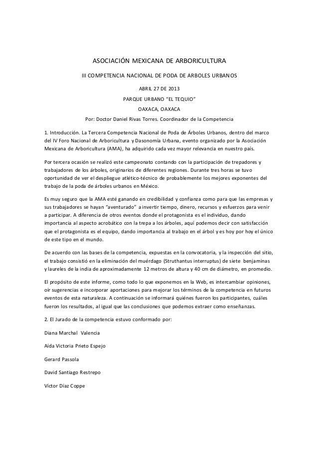 ASOCIACIÓN MEXICANA DE ARBORICULTURA  III COMPETENCIA NACIONAL DE PODA DE ARBOLES URBANOS  ABRIL 27 DE 2013...