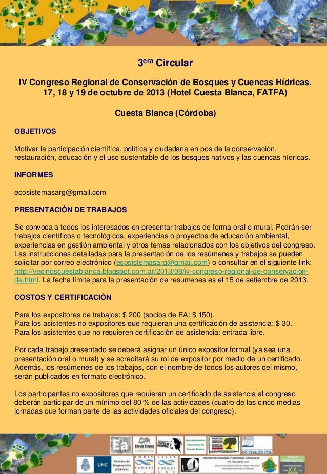3era Circular IV Congreso Regional de Conservación de Bosques y Cuencas Hídricas. 17, 18 y 19 de octubre de 2013 (Hotel Cu...