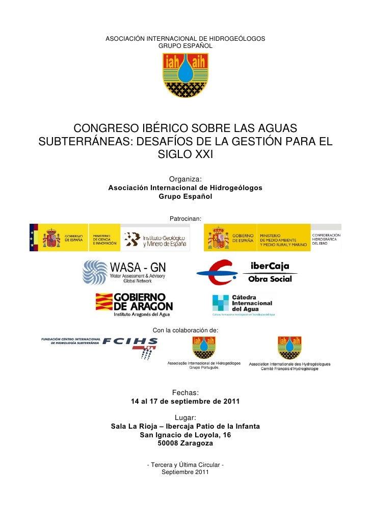 ASOCIACIÓN INTERNACIONAL DE HIDROGEÓLOGOS                        GRUPO ESPAÑOL     CONGRESO IBÉRICO SOBRE LAS AGUASSUBTERR...