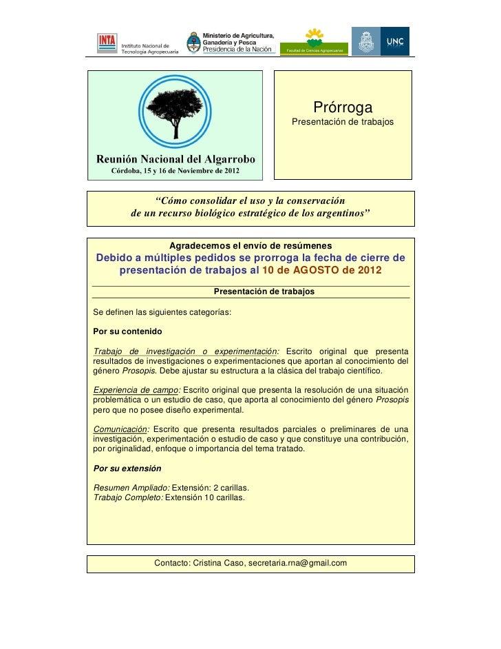 """Prórroga                                                    Presentación de trabajos               """"Cómo consolidar el uso..."""