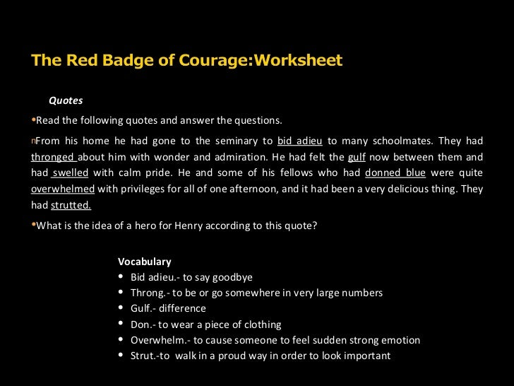 red badge of courage essay question Readers guide questions and topics for discussion introduction  stephen crane's the red badge of courage is a startlingly realistic portrayal of.