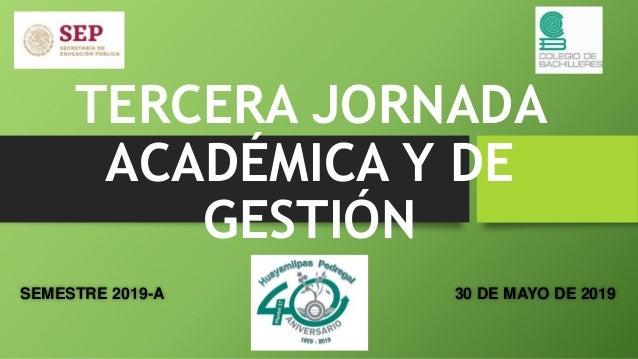 TERCERA JORNADA ACADÉMICA Y DE GESTIÓN SEMESTRE 2019-A 30 DE MAYO DE 2019