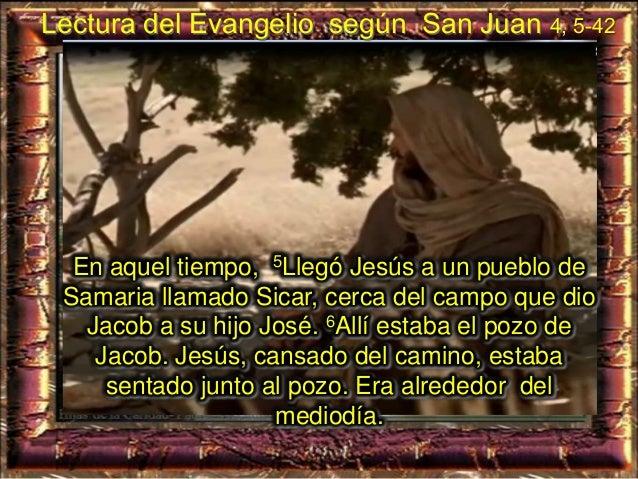 """7Llega una mujer de Samaria a sacar agua, y Jesús le dice: - """"Dame de beber"""". 8Sus discípulos se habían ido al pueblo a co..."""
