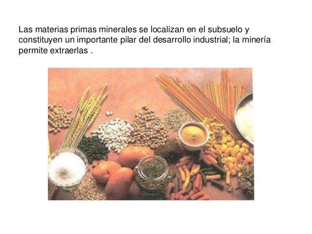 Las materias primas minerales se localizan en el subsuelo y constituyen un importante pilar del desarrollo industrial; la ...