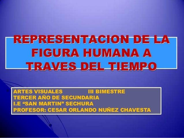 """REPRESENTACION DE LA FIGURA HUMANA A TRAVES DEL TIEMPO ARTES VISUALES III BIMESTRE TERCER AÑO DE SECUNDARIA I.E """"SAN MARTI..."""