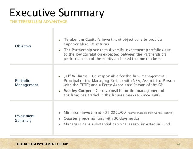 Hedge fund pitch book terebellum investment group for Hedge fund pitch book template