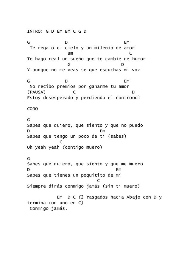 Image Result For Canciones Con Letra Y Acordes