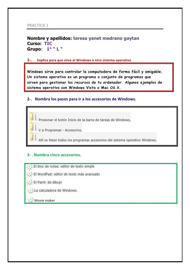 """PRACTICA 1<br />Nombre y apellidos: teresa yanet medrano gaytan<br />Curso:  TIC<br />Grupo:   1° """" L """"<br />1-.      Expl..."""