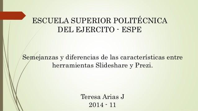 ESCUELA SUPERIOR POLITÉCNICA  DEL EJERCITO - ESPE  Semejanzas y diferencias de las características entre  herramientas Sli...