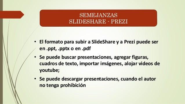 SEMEJANZAS  SLIDESHARE - PREZI  • El formato para subir a SlideShare y a Prezi puede ser  en .ppt, .pptx o en .pdf  • Se p...