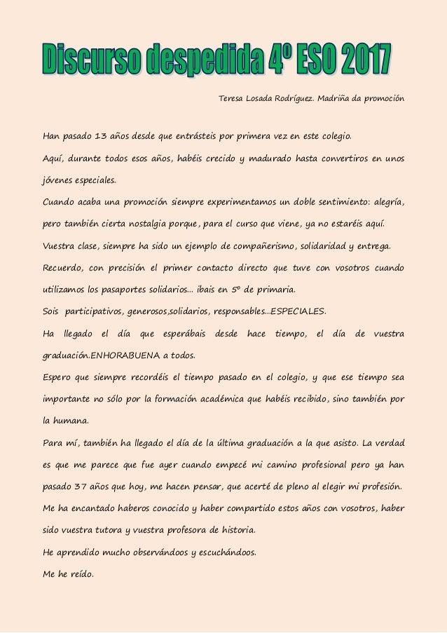 Discurso de despedida aos alumnos de 4º ESO. promoción 2017