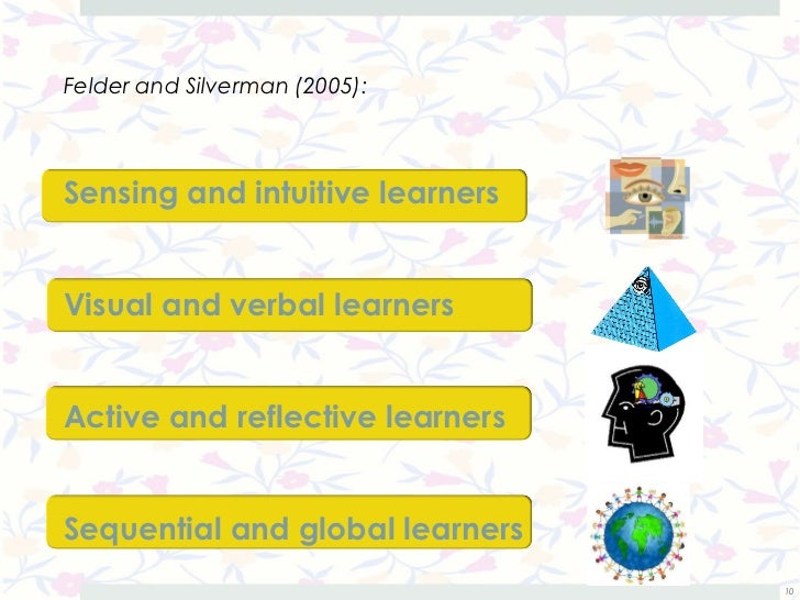 Felder and Silverman (2005):Sensing and intuitive learnersVisual and verbal learnersActive and reflective learnersSequenti...