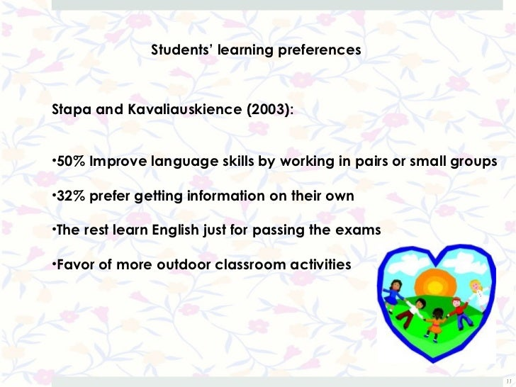 Students' learning preferencesStapa and Kavaliauskience (2003):•50% Improve language skills by working in pairs or small g...
