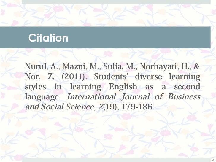 Students' diverse learning styles in learning English as a second language Slide 2
