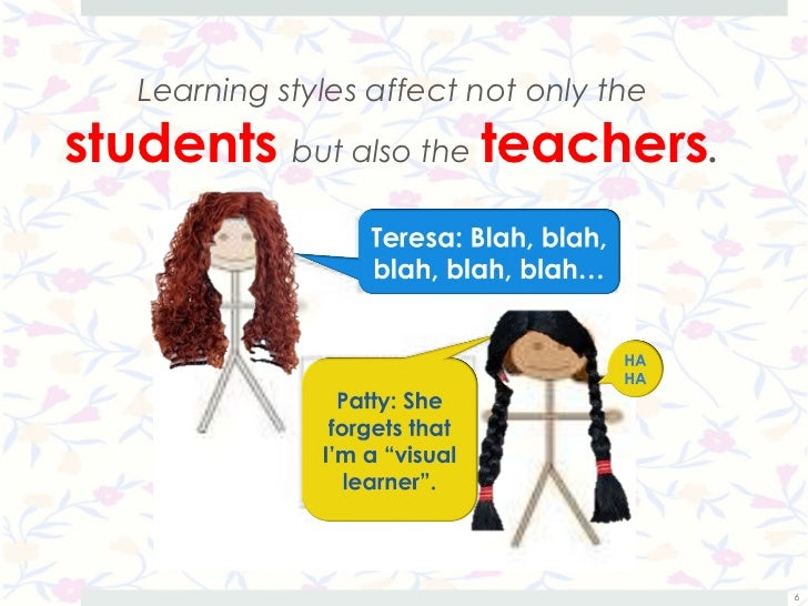 Learning styles affect not only thestudents but also the teachers.                                         6