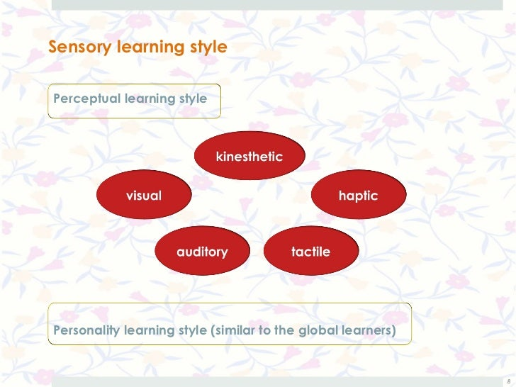 Sensory learning stylePerceptual learning stylePersonality learning style (similar to the global learners)                ...
