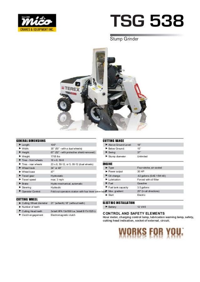 terex tsg 538 stump grinder inspection report