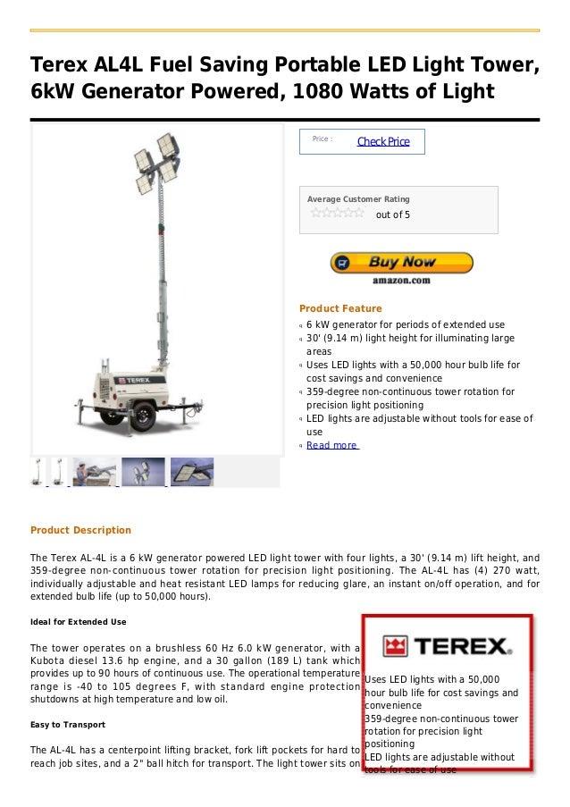 Terex AL4L Fuel Saving Portable LED Light Tower,6kW Generator Powered, 1080 Watts of Light                                ...
