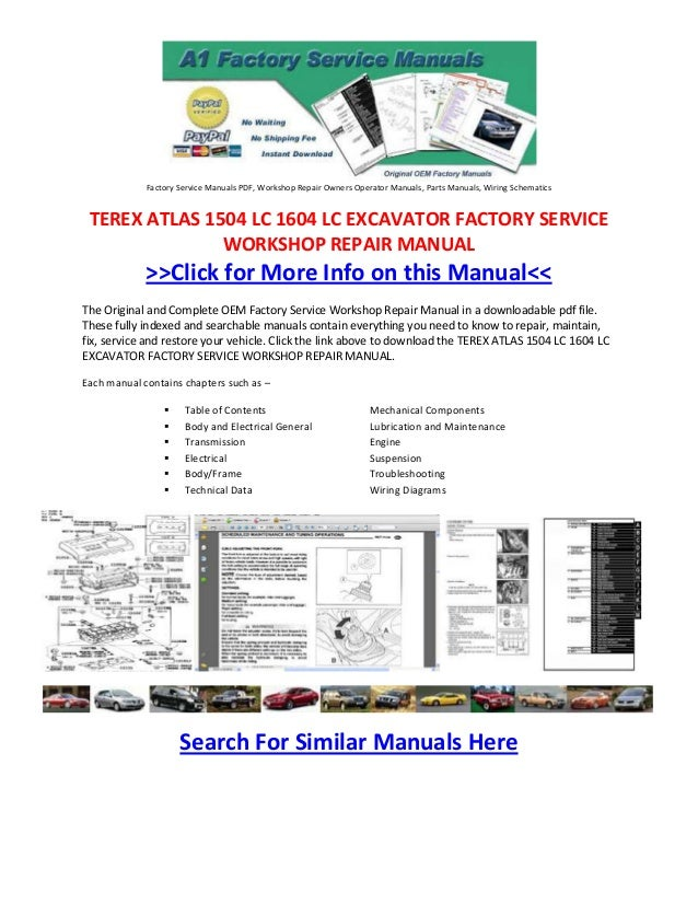 terex atlas 1504 lc 1604 lc excavator factory service workshop repair