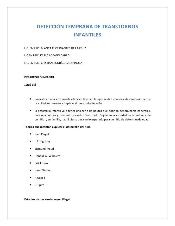 DETECCIÓN TEMPRANA DE TRANSTORNOS                        INFANTILESLIC. EN PSIC. BLANCA R. CERVANTES DE LA CRUZLIC EN PSIC...