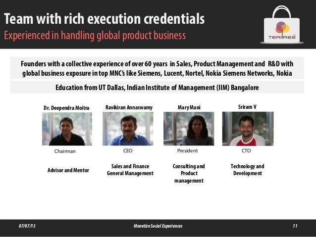 Team with rich execution credentials Experienced in handling global product business 07/07/13 MonetizeSocialExperiences 11...
