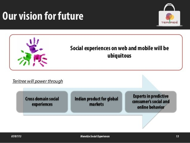 Our vision for future 07/07/13 MonetizeSocialExperiences 13 Cross domain social experiences Indian product for global mark...