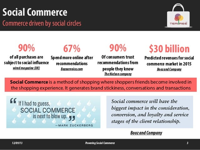 Social Commerce Commerce driven by social circles 12/09/13 PoweringSocialCommerce 3 90% of all purchases are subject to so...