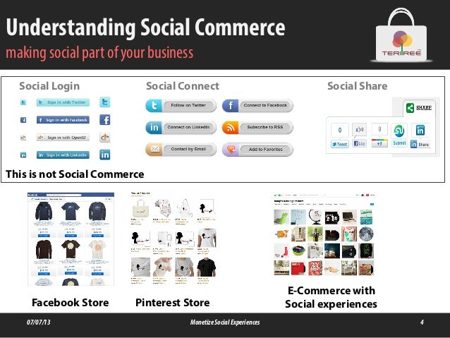 Understanding Social Commerce making social part of your business 07/07/13 MonetizeSocialExperiences 4 Social Login Social...