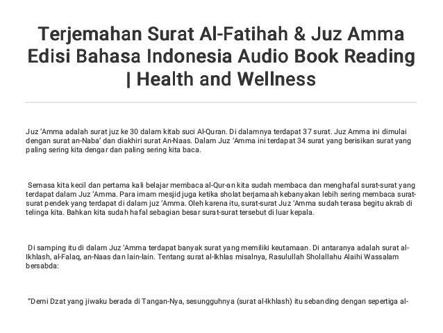 Terjemahan Surat Al Fatihah Juz Amma Edisi Bahasa