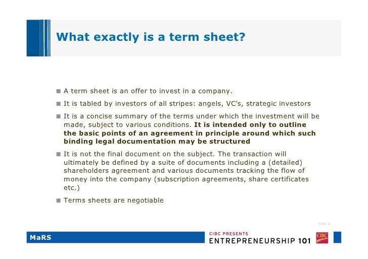 Term Sheets Terms Of Endearment