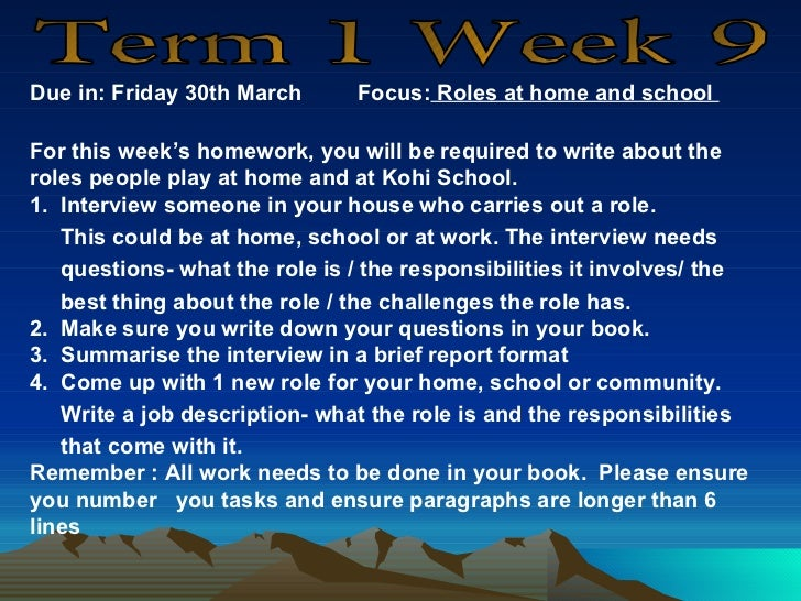 Due in: Friday 30th March      Focus: Roles at home and schoolFor this week's homework, you will be required to write abou...