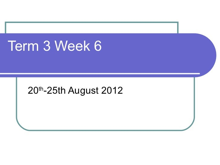 Term 3 Week 6  20th-25th August 2012