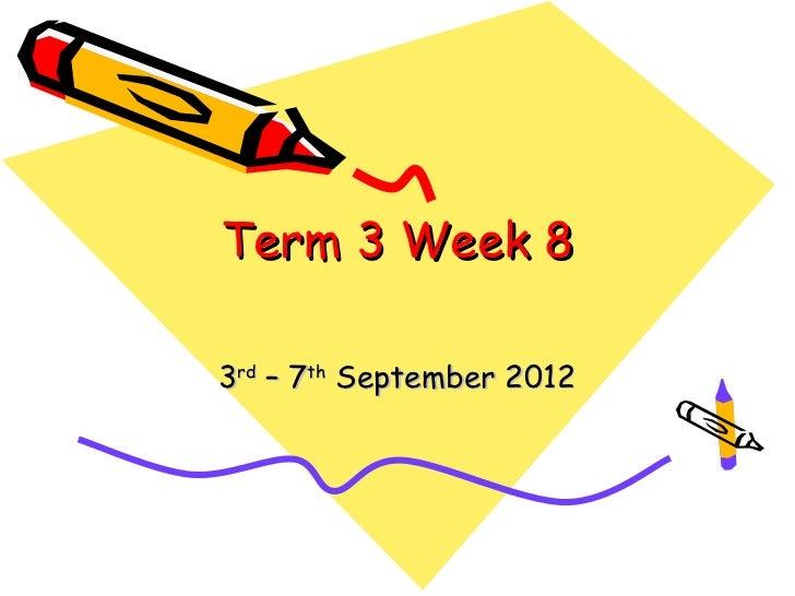Term 3 Week 83rd – 7th September 2012