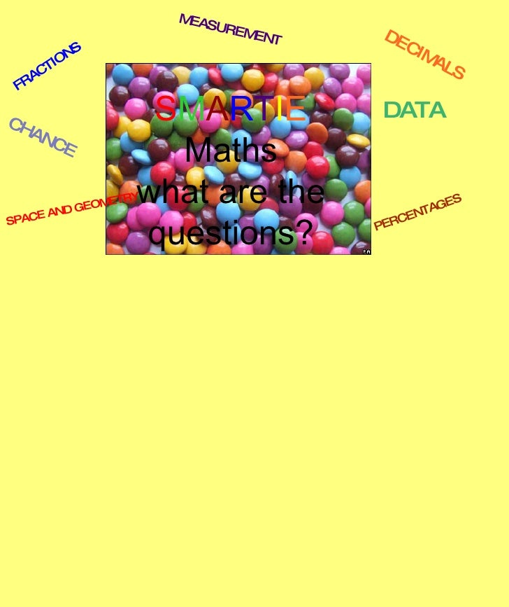 S M A R T I E  Maths what are the questions? FRACTIONS DECIMALS CHANCE DATA PERCENTAGES MEASUREMENT SPACE AND GEOMETRY
