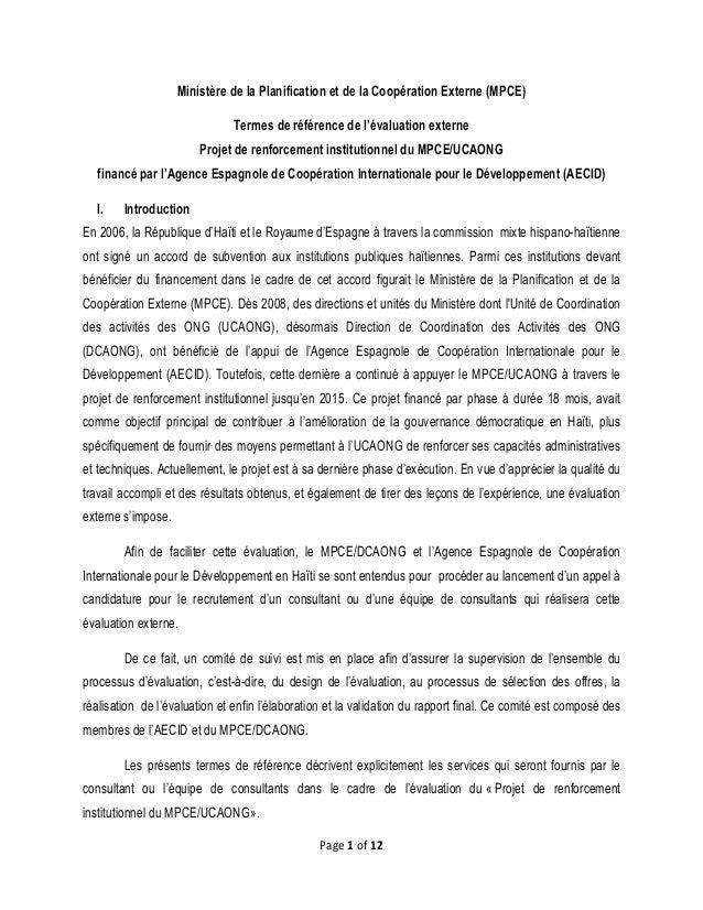 Page 1 of 12 Ministère de la Planification et de la Coopération Externe (MPCE) Termes de référence de l'évaluation externe...