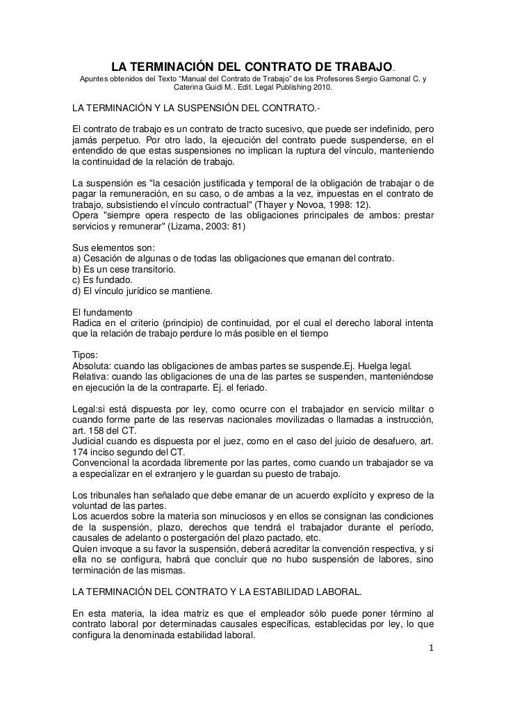 Terminacion del contrato de trabajo for Contrato trabajo
